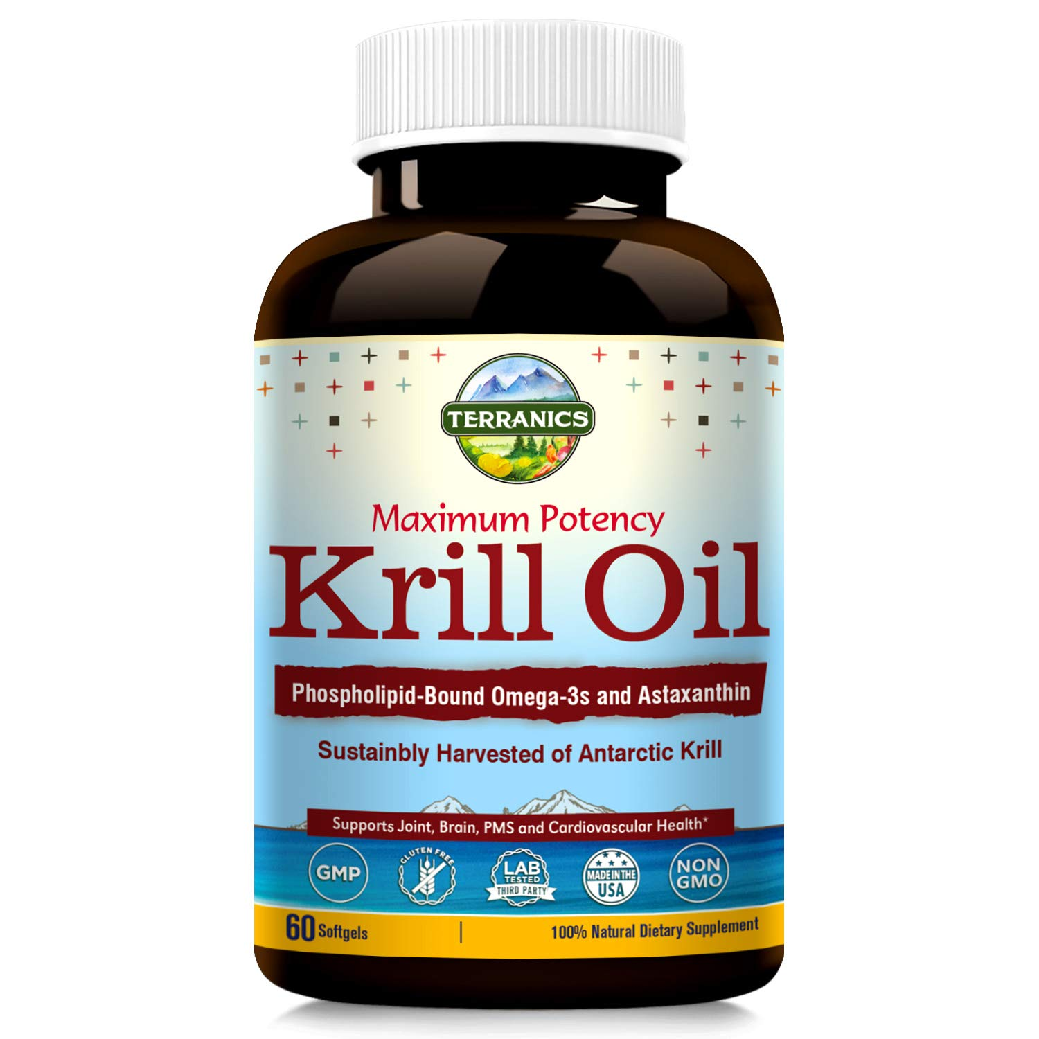 Terranics Krill Oil with Omega3s DHA & EPA, Phospholipids and Astaxanthin, 1250mg, 60 Softgels, Supports Joint, Brain and Cardiovascular Health, NON-GMO, Soy, Dairy & Gluten Free, for men and women by Terranics