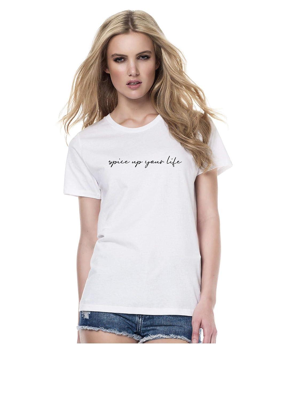 New Unisex Spice UP Your Life Slogan T-Shirt Top Girls Tour Concert Girl Power Celebrity Designer Tumblr