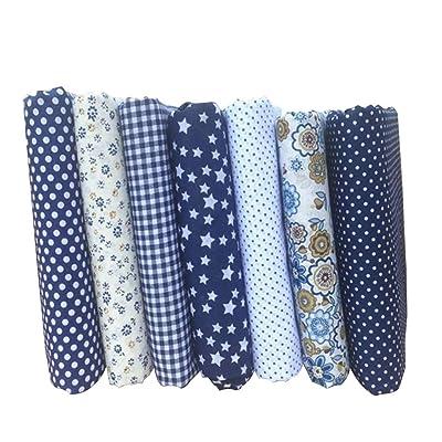 Lorsoul 7PCS / Set 25 * 25 cm Mixta de impresión Florales Telas de Patchwork Materiales de Costura Que acolcha álbum de Recortes de Tela de algodón: Hogar