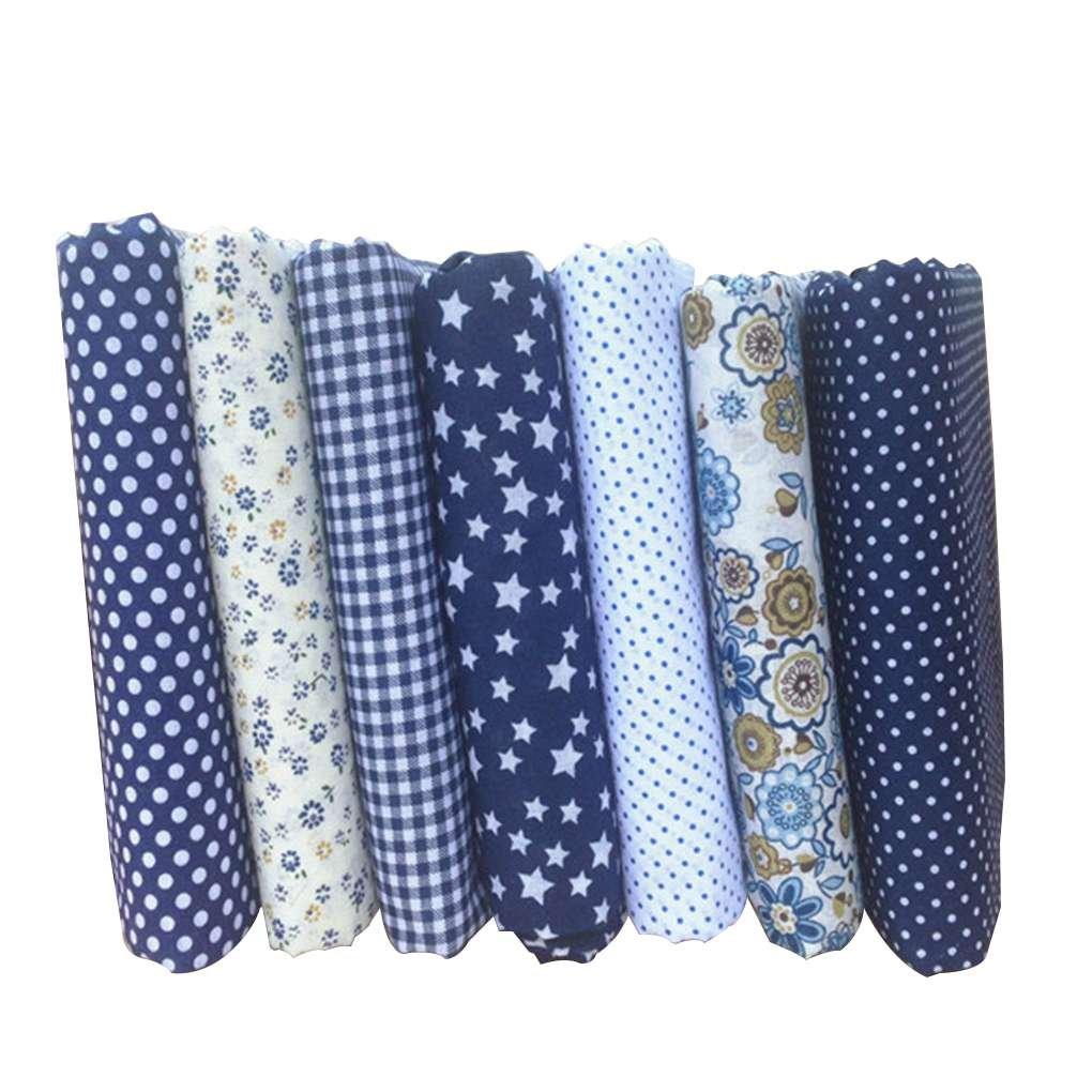 fish 7PCS/set misto di stampa di 25 * 25cm tessuti floreali per il patchwork Materiali da cucire Quilting Scrapbooking panno di cotone