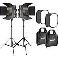 Neewer 2 Pieces Bi-color 660 LED Video Light with Stand and Softbox Kit: (2)3200-5600K CRI96+ Dimmable Light with U…