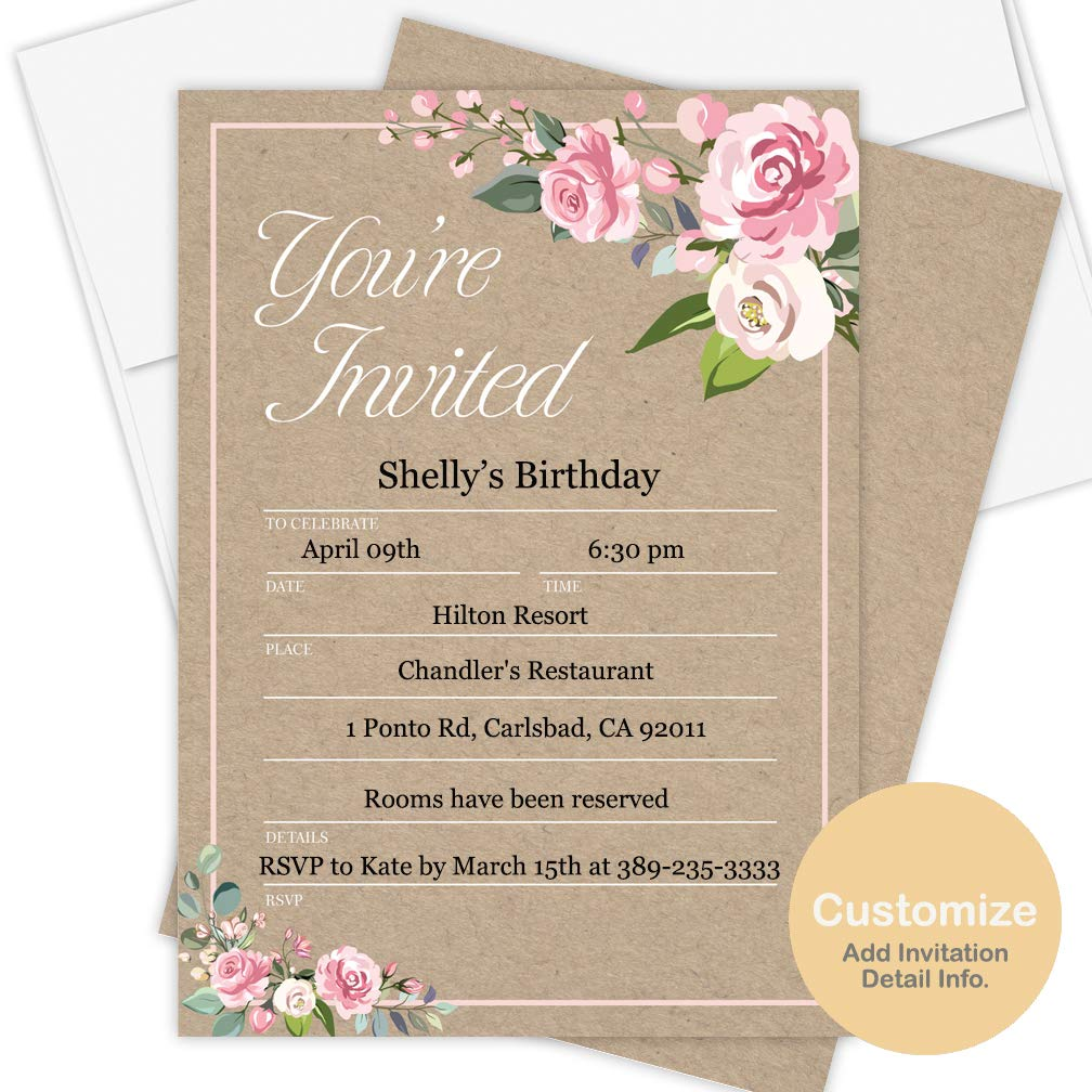 Amazon Com Custom Invitation Cards 50 Pack Envelopes