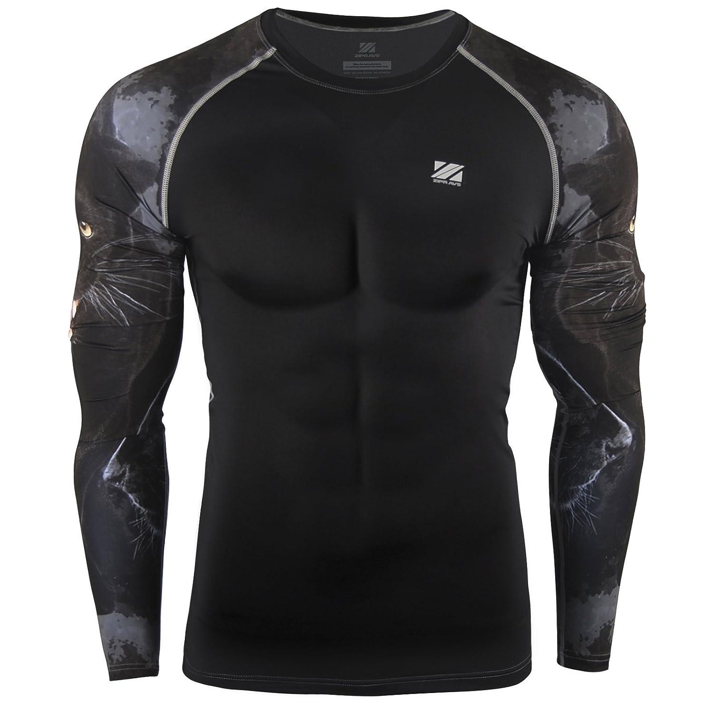 Zipravs Men's Cool Dry Compression Baselayer Long Sleeve T Shirts