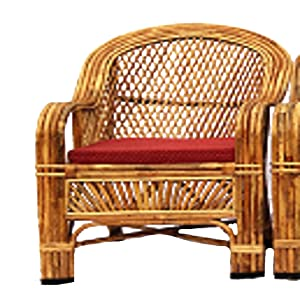 H M Services Bamboo Cane Living Room Chair (Brown)