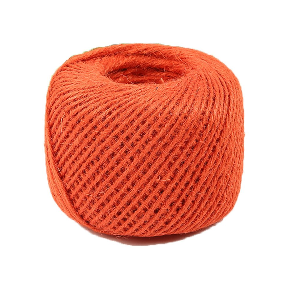 Diyjoys Orange Color 50 yards per roll Natural Jute twine 2.0mm string for art craft gift