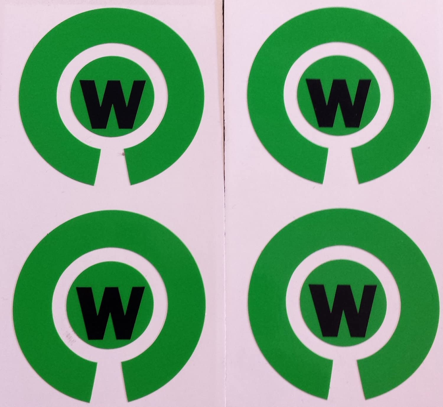 Crown Green Lawn Indoor Bowls Adhesive Lettered Coloured Marker Labels Set of 4 (Green, W)