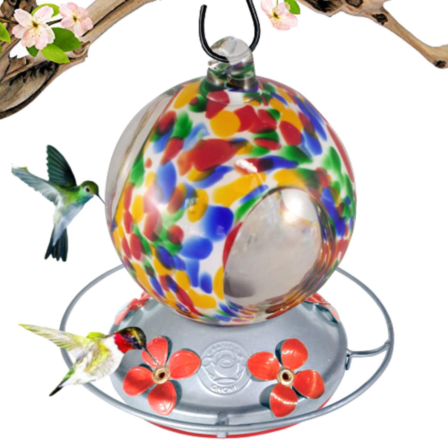 Grateful Gnome - Hummingbird Feeder - Hand Blown Glass - Flower Globe with Window 24 Fluid Ounce Free Bonus Accessories S-Hook, Ant Moat, Brush and Hemp Rope Included