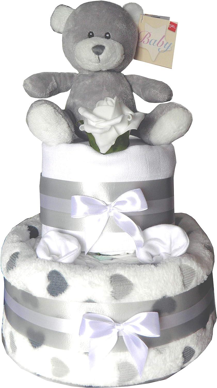 Grey Teddy Bear Baby Nappy Cake Unisex 2 Tier Design Baby Gift Ideal foe Baby Shower//Birth Gift