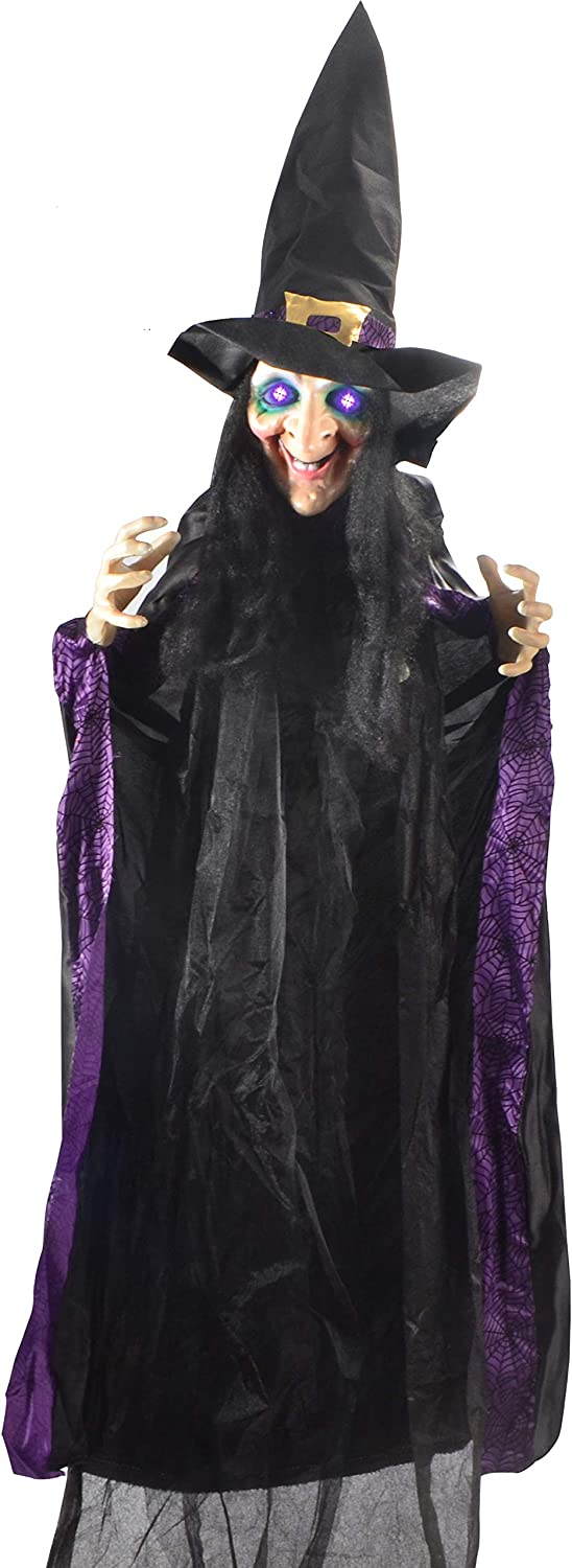 "JOYIN Life Size 74"" Hanging Animated Witch with LED Eyes and Spooky Sounds for Halloween Decorations"