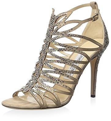fca5d8c6d0 Jimmy Choo Women's Kaye 100 Sandal, Nude, 37.5 M EU/7.5 M US: Buy ...