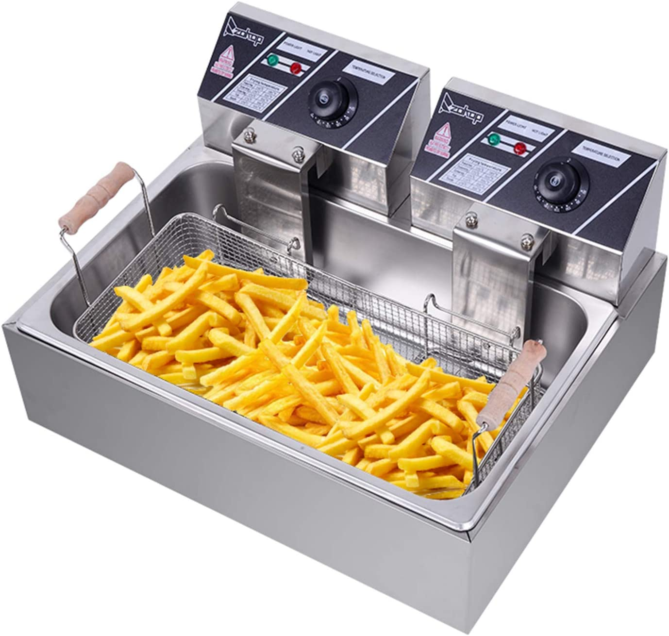 Deep Fryers,Large Capacity Electric Deep Fryer for Commercial and Home Use 5000W-Watt Large 12 L/12.7Qt Professional Grade Stainless Steel (Silver)