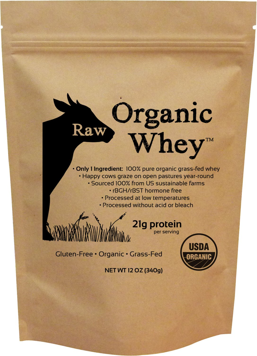 Raw Organic Whey - USDA Certified Organic Whey Protein Powder, Happy Healthy Cows, COLD PROCESSED Undenatured 100% Grass Fed + NON-GMO + rBGH Free + Gluten Free, Unflavored, Unsweetened (12 OZ) by Raw Organic Whey