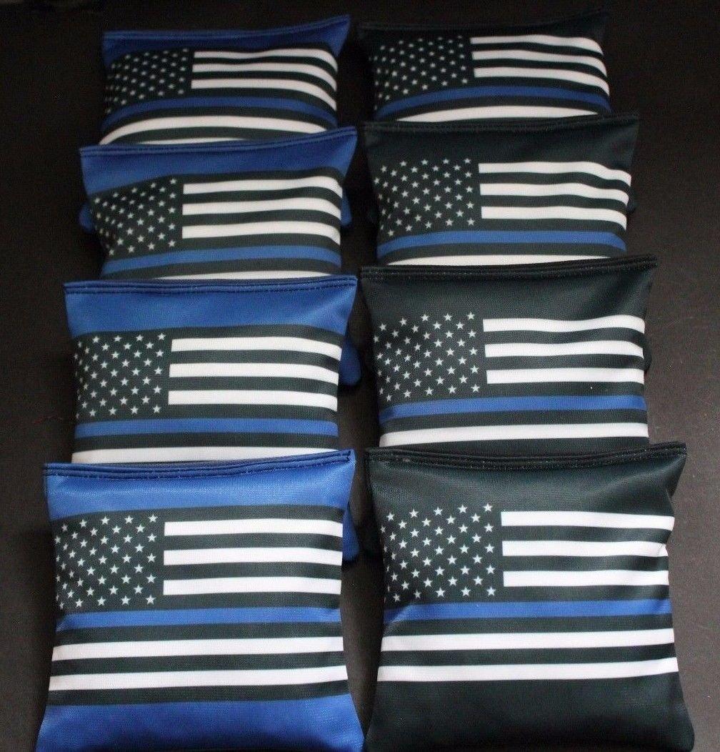 BLUE LIVES MATTER Police US Blue Line FLAG 8 ACA regulation Cornhole bags B339 by BackYardGamesUSA