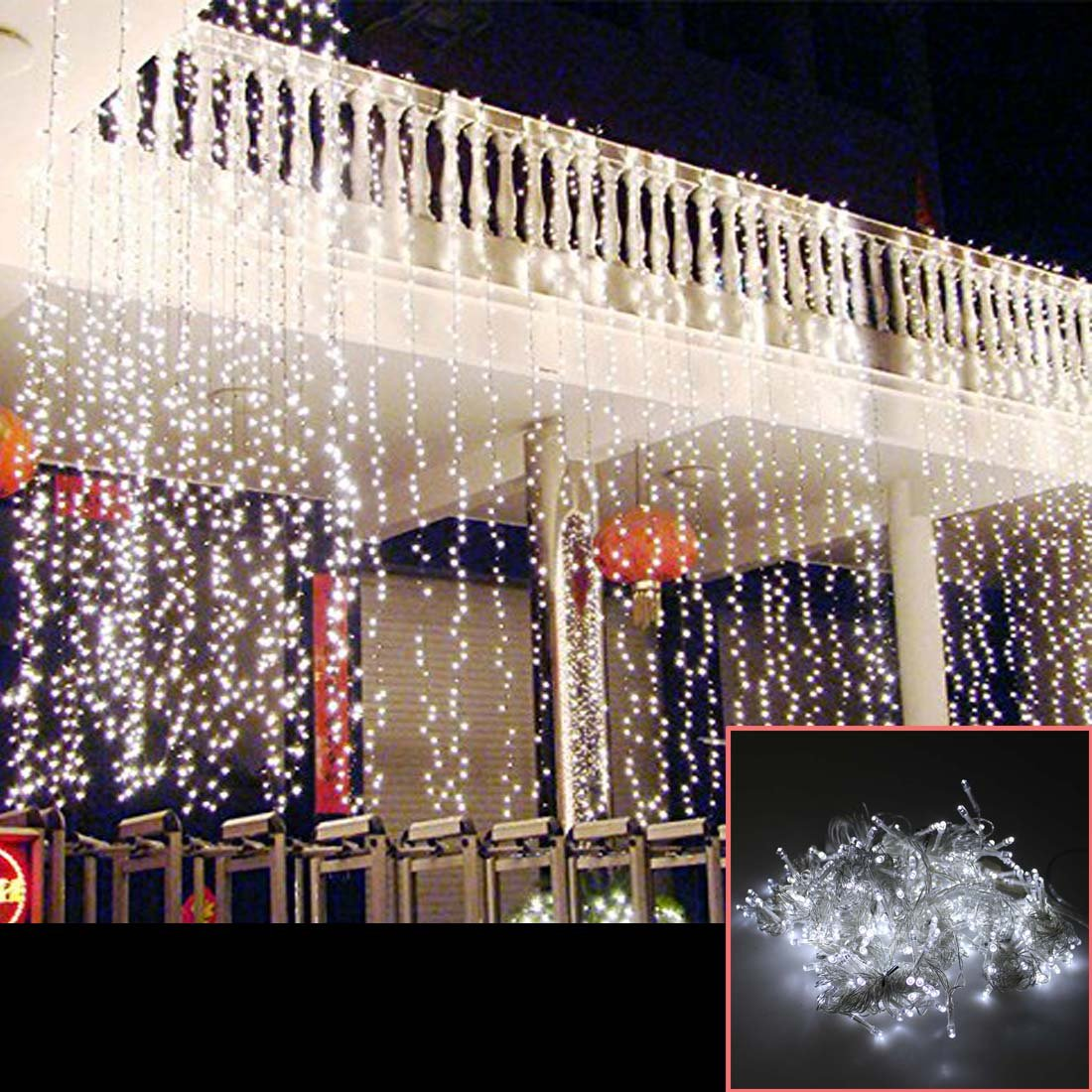 AGPtek® 15Mx3M 1664LED Linkable Fairy Curtain Lights Strings Connectable Lights 8 Lighting Modes for Wedding Ceremony Christmas Party Home Decoration Holiday Celebration-White