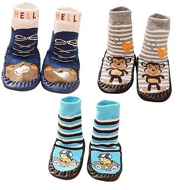 3 Pairs Baby Slipper Socks Okpow Baby Boy Socks Toddler Cotton Socks