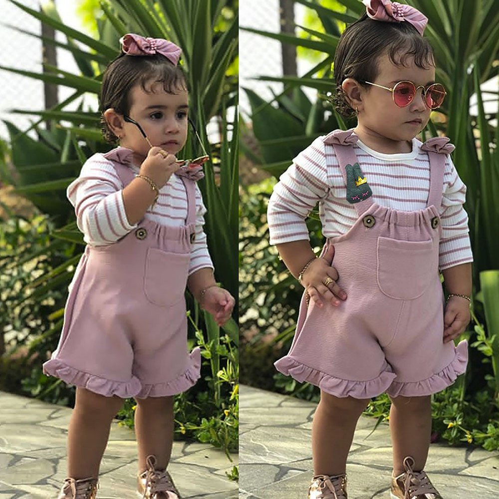 Suspenders Shorts Newborn Baby Overall Outfits Jumpsuit Clothes 2PCS Toddler Infant Baby Girl Fashion Bib Pants Set Summer Clothing Striped Short Sleeve T-Shirt Top