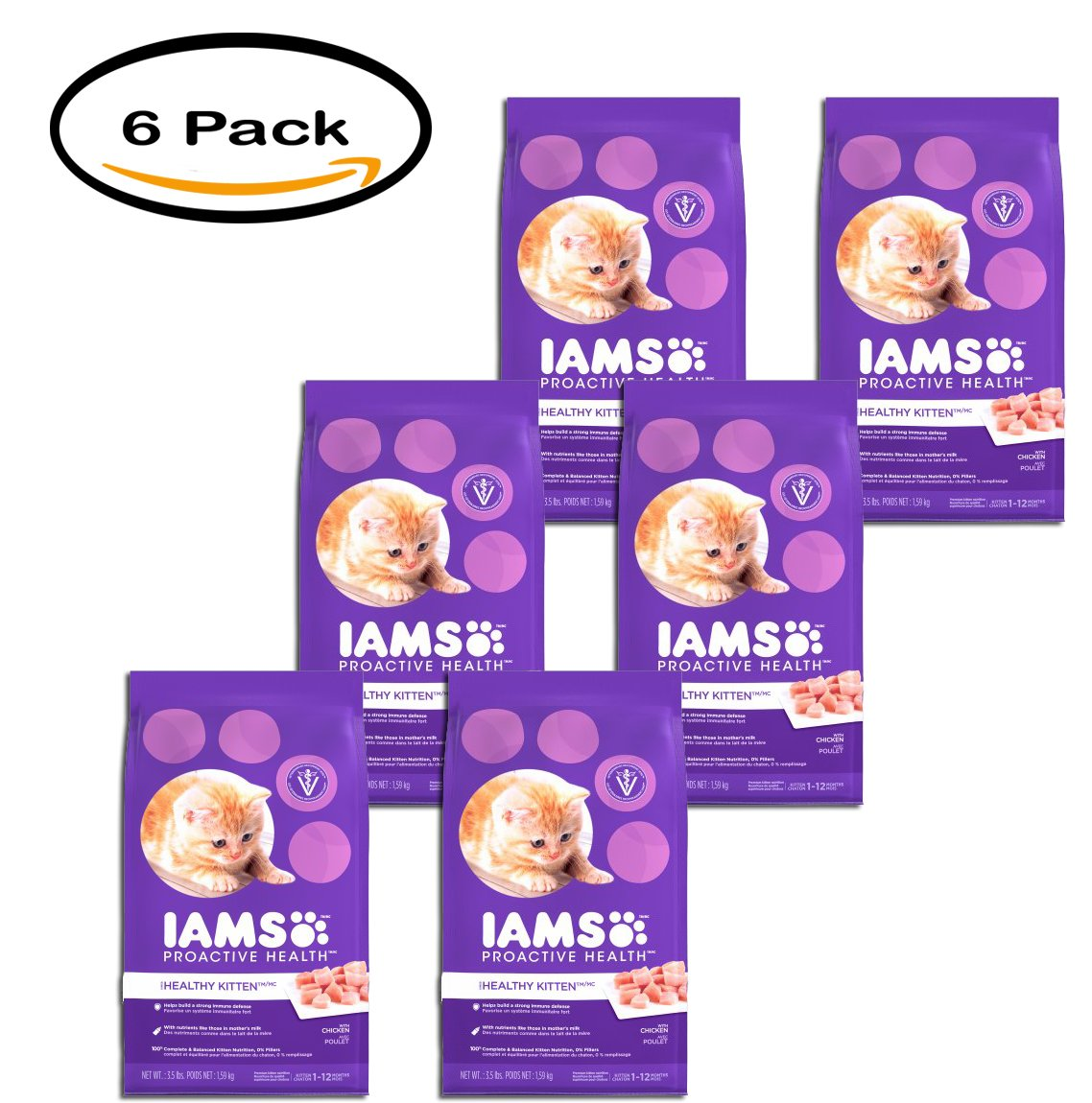 PACK OF 6 - IAMS PROACTIVE HEALTH HEALTHY KITTEN Dry Cat Food 3.5 Pounds by Iams