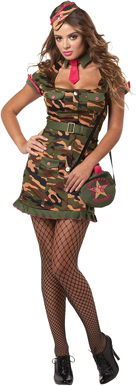Sexy soldatin para mujer Disfraz militar camuflaje verde rosa ...