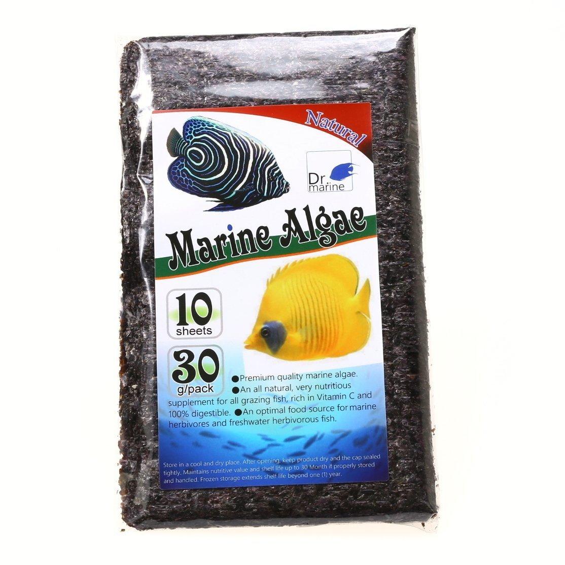 Dr. marine 10 Sheets Marine Algae 30g Seaweed Reef Fish Tank Food Feed Green Seaweed