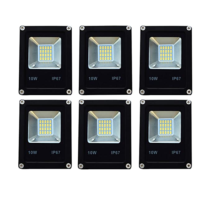 Super 10 Watt led IP6667 Ultra Thin Metal Body IP65 LED Flood Indoor/Outdoor Light with Stand -Pack of 6