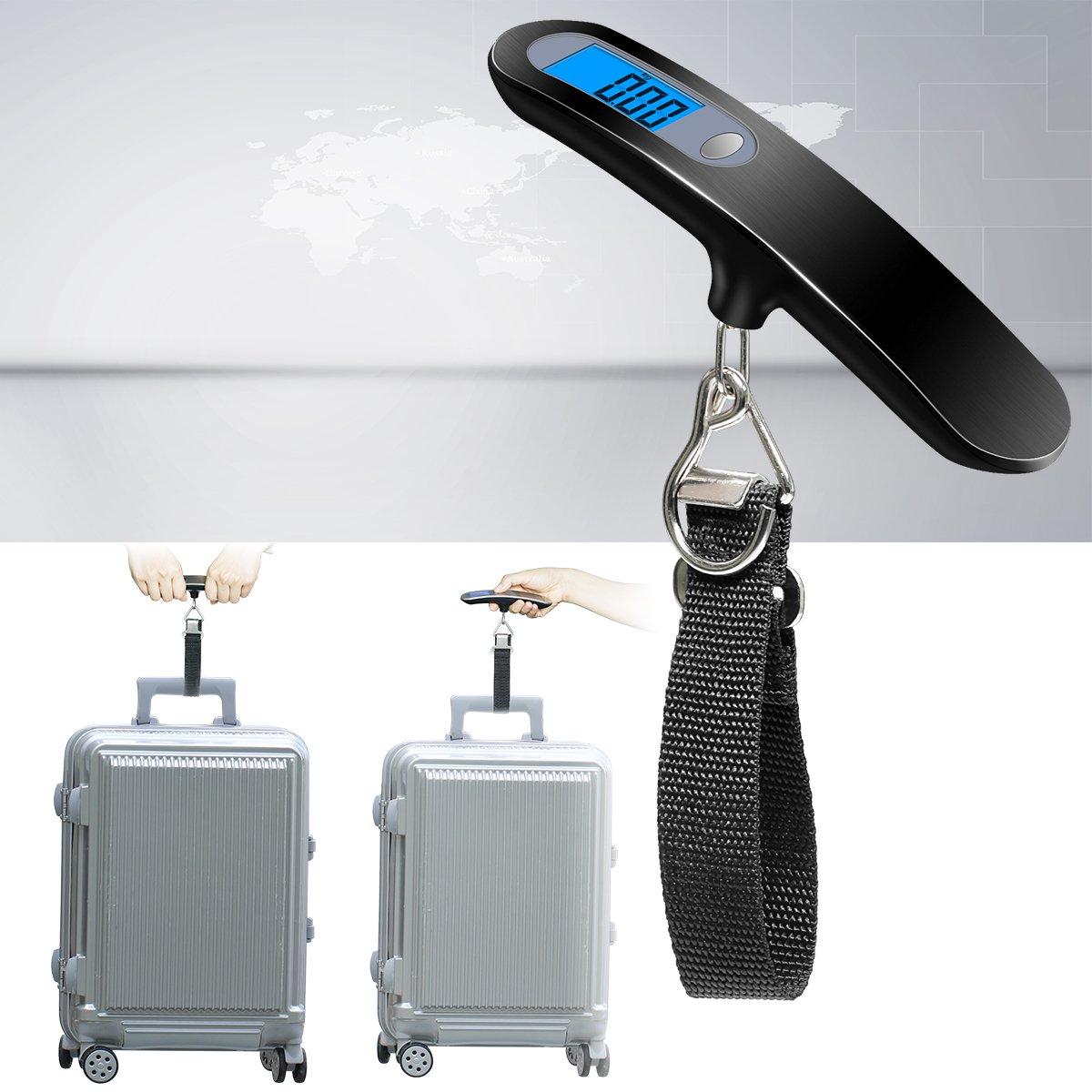 B/áscula de Equipaje,Balanza Ergon/ómica LCD B/áscula wellead B/áscula Pesca Digital 50Kg para Maletas Equipaje de Viaje B/áscula Negra