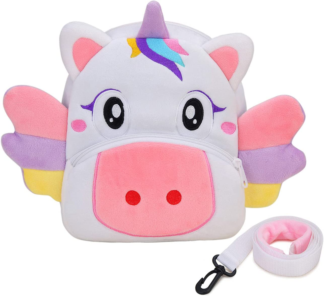 Toddler Backpack,Cute Plush Small Daycare Backpack with Leash for Little Boys Girls Kids with Chest Strap White Unicorn