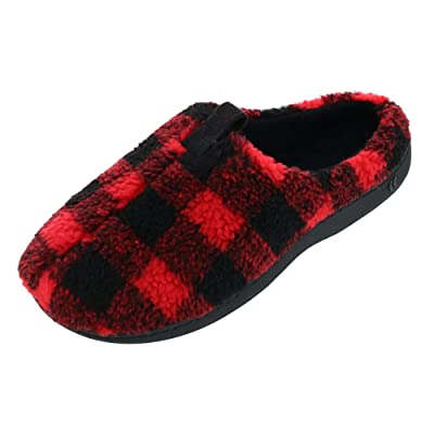 ISOTONER Men's Berber Owen Buffalo Plaid Hoodback Slipper, Large, Festive Red | Slippers