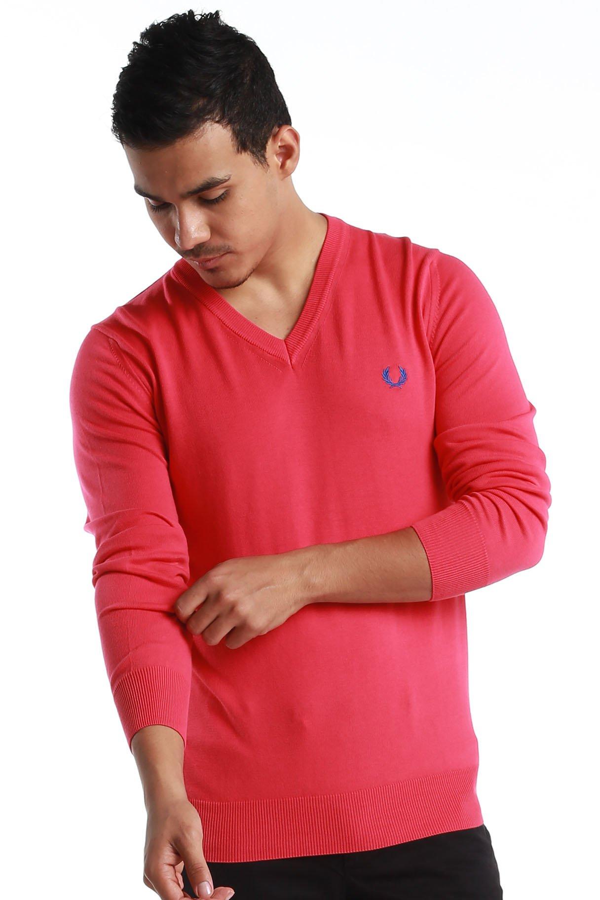 "Fred Perry Green Label Men's Sweatshirt Medium Pink V-Neck Sweatshirt with Blue ""laurel"""