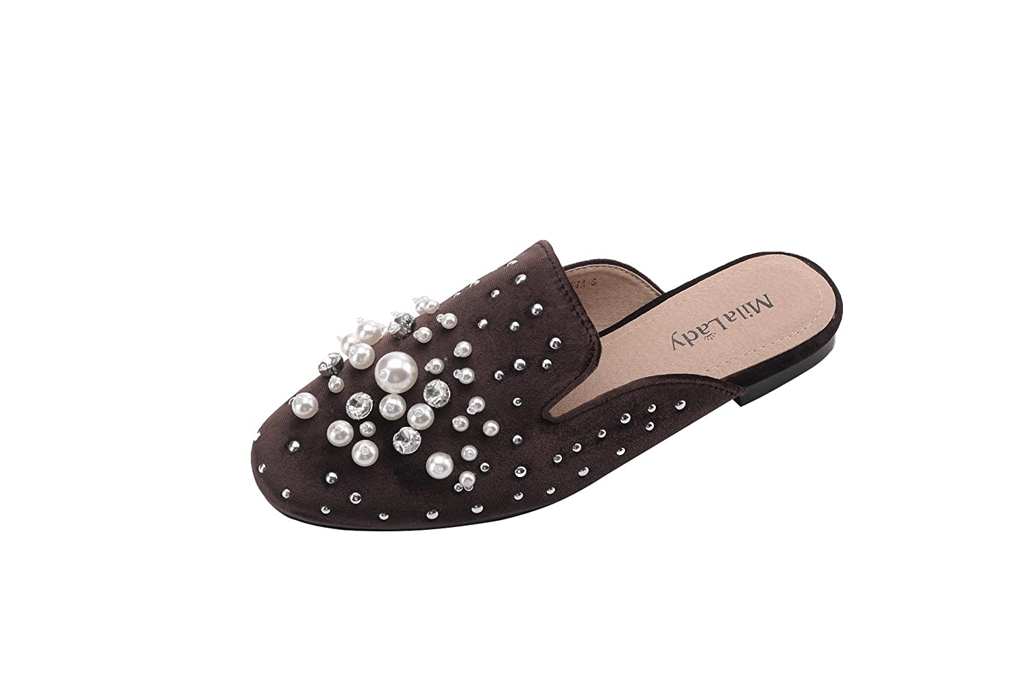 Mila Lady Sylvia New Fashion Womens Mules Slip On Loafer Spikes Stud With Rhinestone And Pearl Slides Flats Shoes by Mila Lady