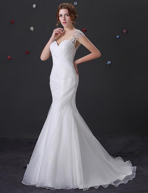 Adasbridal-Vestido de novia de organza de raso de escote corazon de la sirena elegante: Amazon.es: Ropa y accesorios