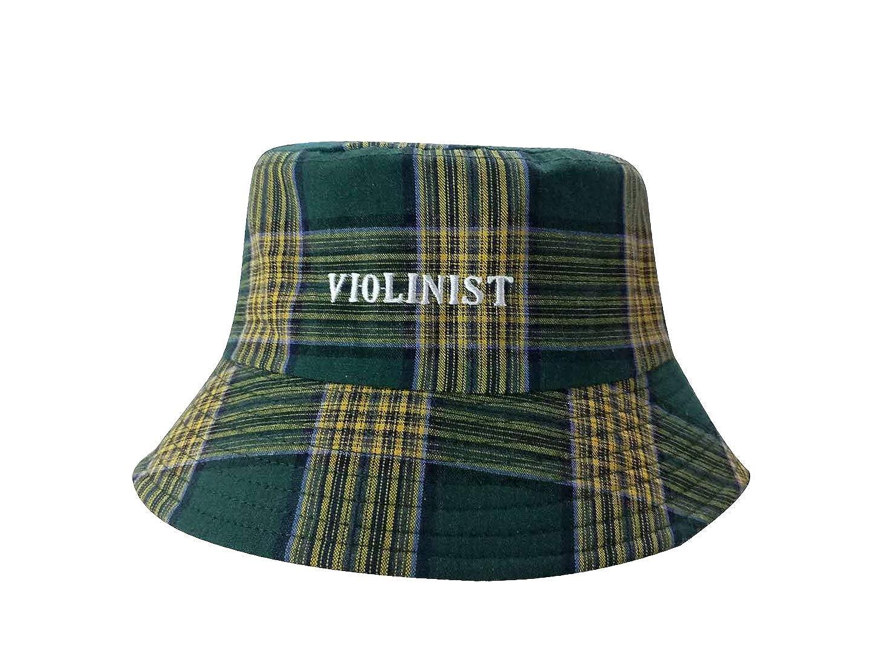 XueXian Womens Oxford Plaid Cotton Blend Bucket Sun Hat