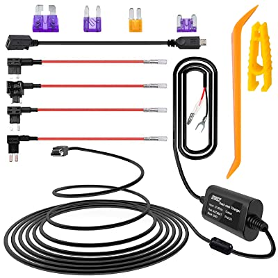 iiwey Dash Cam Hardwire Kit with Mini/Micro Port, 13ft Dashboard Camera Car Charger Cable Kit 12V- 24V to 5V, Power Adapter with LP/Mini/ATO/Micro2 Fuse for Dash Cam, GPS Navigator, Radar Detector: Car Electronics