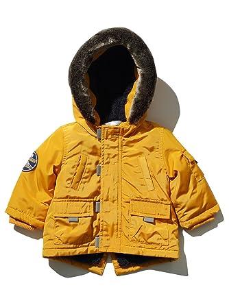 141e5d89c M Co Baby Boy Bright Mustard Long Sleeve Faux Fur Trim Hooded Pocket ...