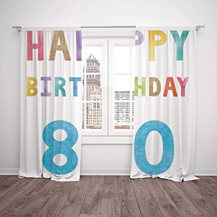 Thermal Insulated Blackout Window Curtain80th Birthday DecorationsOld Ancient Abstract Vintage Happy