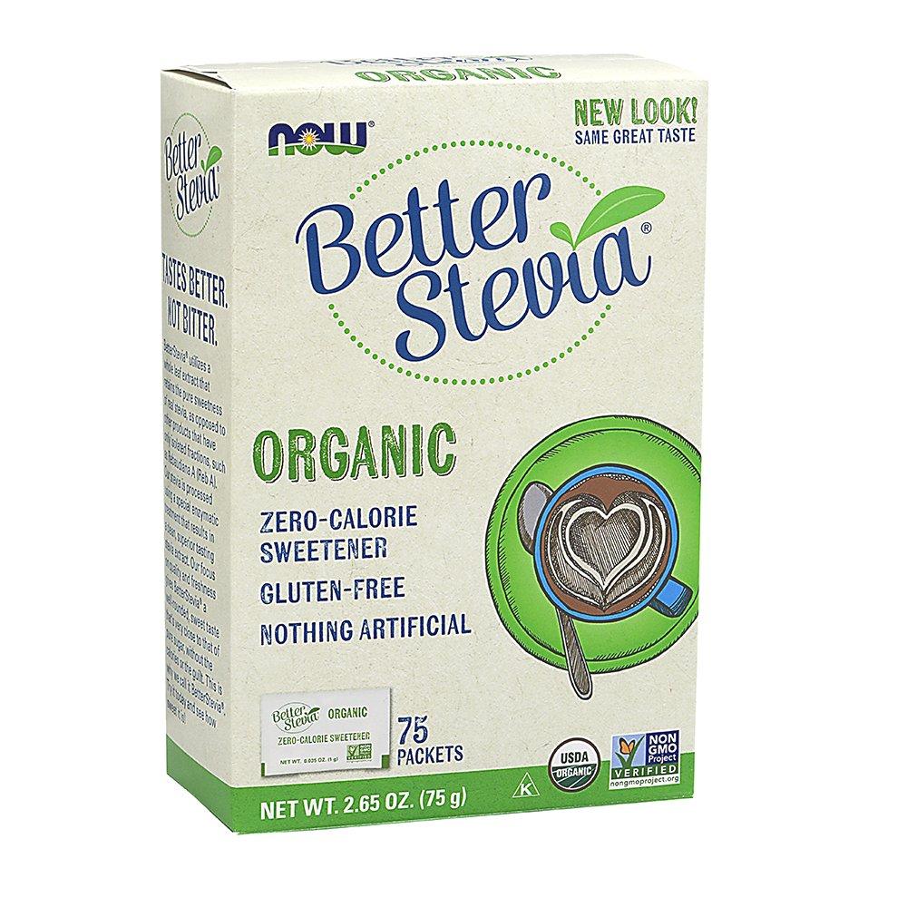 NOW Foods Organic BetterStevia, Sugar Alternative Sweetener, Zero Calorie, Gluten-Free 75 Packets