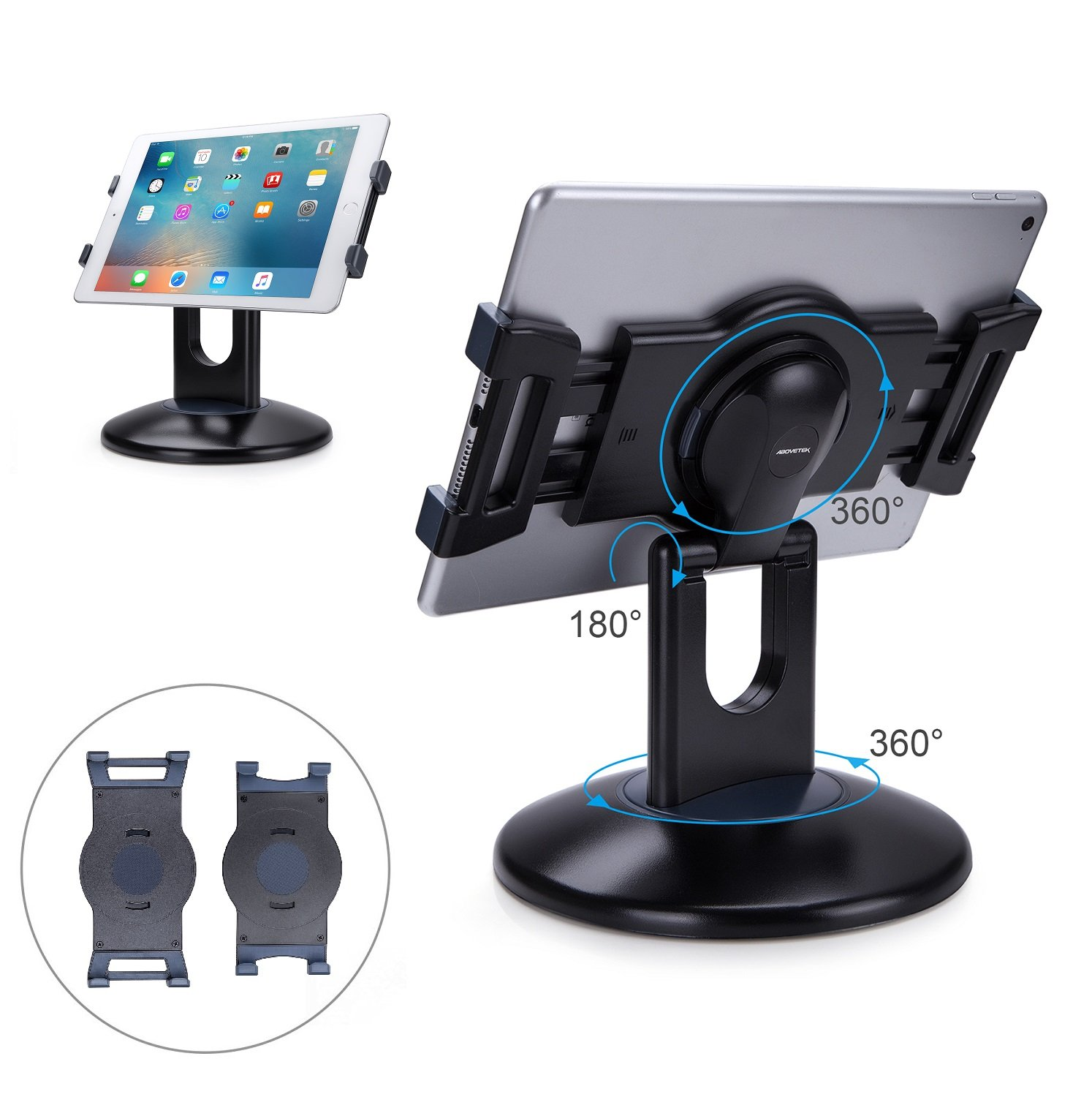 AboveTEK Retail Kiosk iPad Stand, 360° Rotating Commercial Tablet Stand, 6-13.5'' iPad Mini Pro Business Tablet Holder, Swivel Design for Store POS Office Showcase Reception Kitchen Desktop (Black)