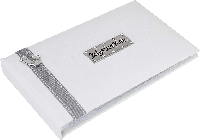 gris colombe ruban cousu et de pieds de b/éb/é /Étain design Par Gift Metal Planet UK Album Photo pour photos d/échographie doux