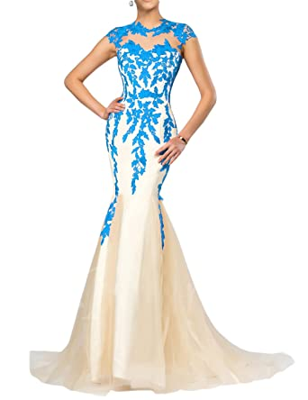 1ad0803eca44 YSMei Women s Long Mermaid Evening Dress Cap Sleeve Prom Party Formal Gown  Tulle Blue 2