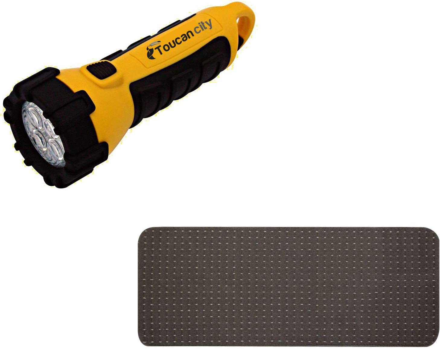 Toucan City LED Flashlight and Multy Home Pindot Chocolate 9 in. x 24 in. Stair Tread Cover (Set of 12) MT1003501CM