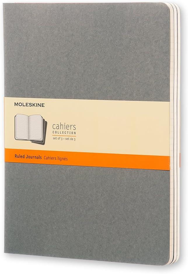 Moleskine Cahier - Set de 3 cuadernos a rayas extragrandes, color gris claro cálido