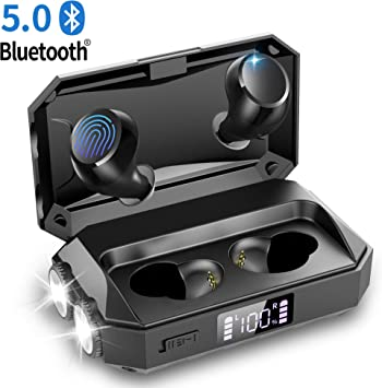 Wireless Earbuds Bluetooth 5 0 Earbuds With Flashlight 130 Hours Music Time Tws Bluetooth Headphones Ipx5 Waterproof Touch Control Noise Reduction Stereo Earphones For Running Fitness Amazon Ca Electronics
