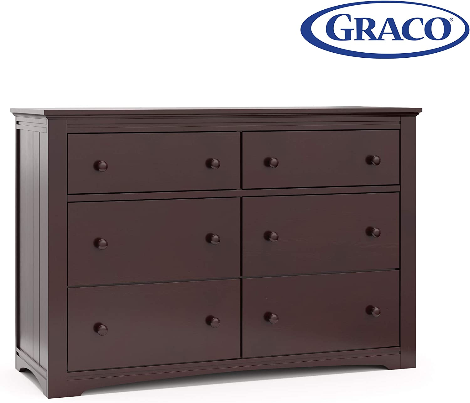Graco Hadley 6 Drawer Dresser - Espresso, Easy New Assembly Process, Universal Design, Durable Steel Hardware and Euro-Glide Drawers with Safety Stops, Coordinates with Any Nursery