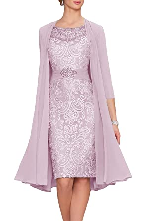 d7ab5e4bf1ca Newdeve Chiffon Mother of The Bride Dresses Tea Length Two Pieces ...