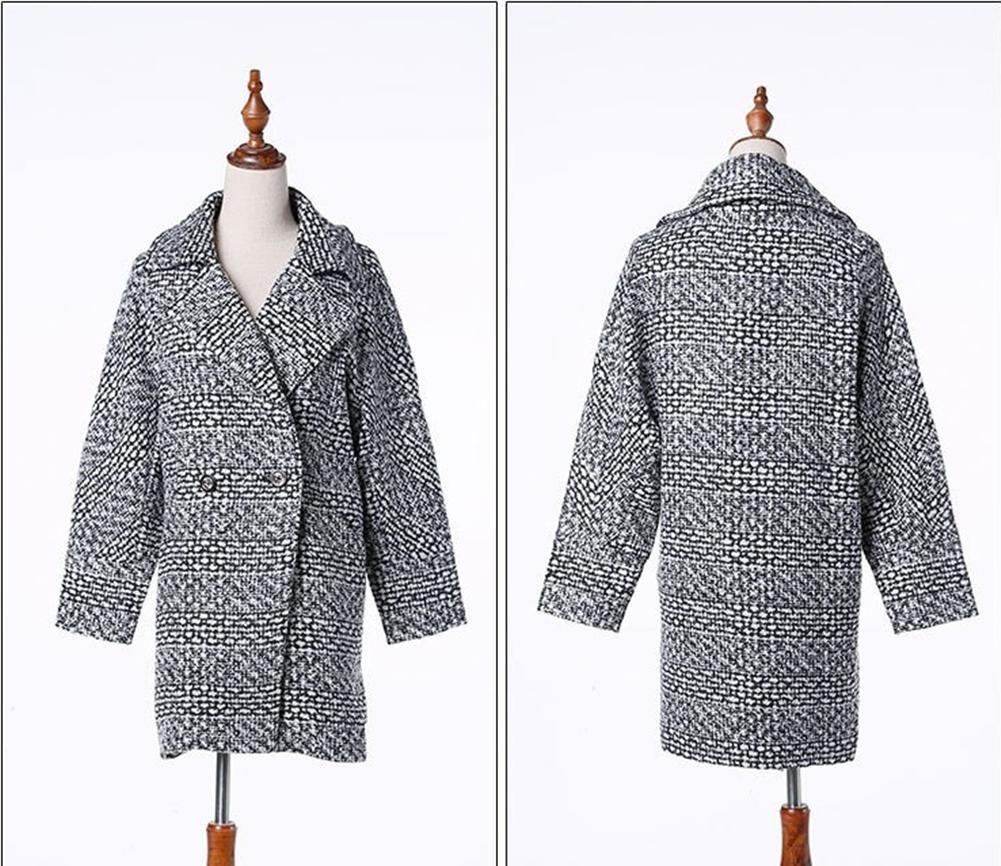 Clásica Plus de pata de gallo tamaño largo lana abrigo mujer