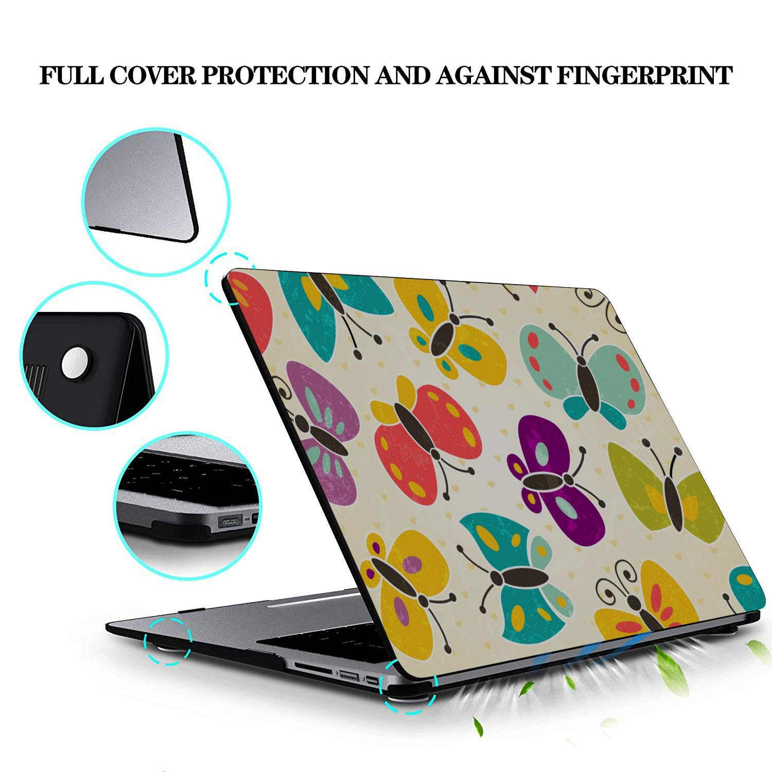15 Inch Laptop Cover Spring Cute Butterfly Bee Flower Plastic Hard Shell Compatible Mac Air 11 Pro 13 15 MacBook Cover 15 Inch Protection for MacBook 2016-2019 Version