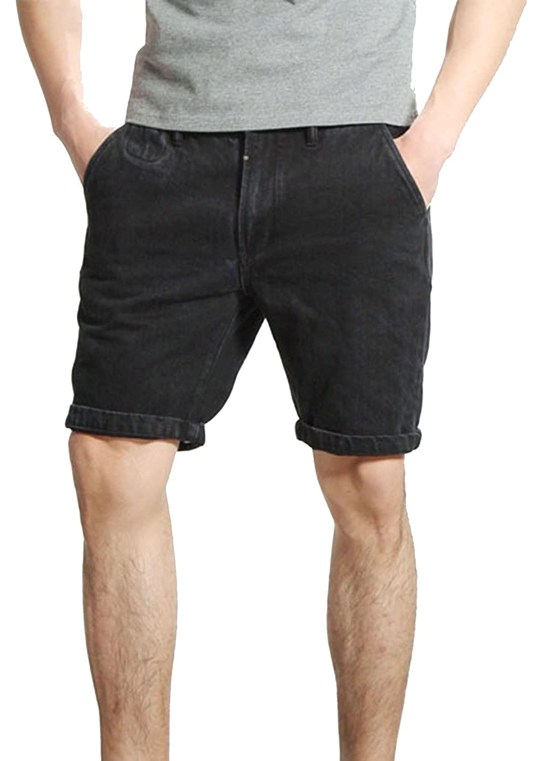 Allonly Men's Black Fashion Casual Slim Fit Denim Shorts Jean Short