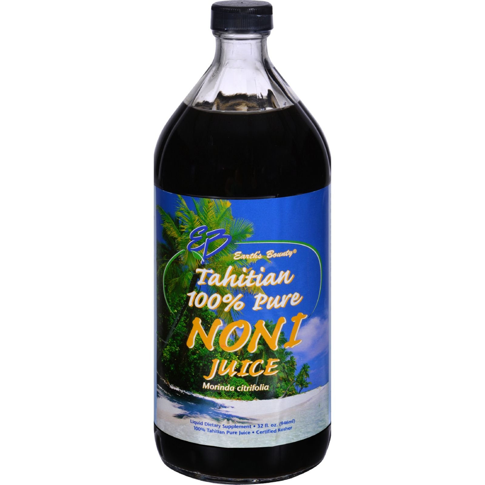 Earths Bounty Tahitian Pure Noni Juice - Certified Kosher - Sugar Free - Preservative Free - 32 fl oz (Pack of 4)