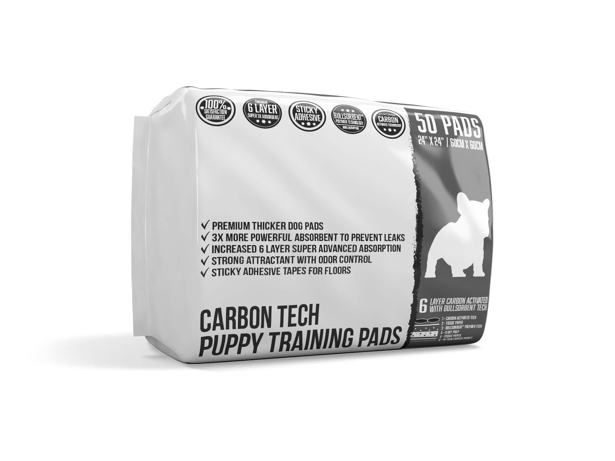 Bulldogology Carbon Black Puppy Pee Pads Adhesive Sticky Tape - Large Dog Training Wee Pads - (24x24, 50-Count)