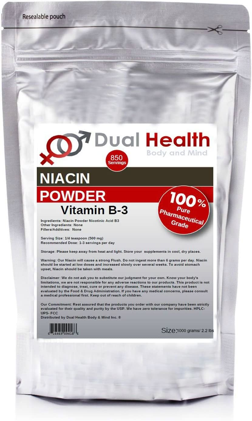 Pure Niacin 1 Kilogram 2.2 lbs Vitamin B3 Nicotinic Acid Powder Bulk Supplements
