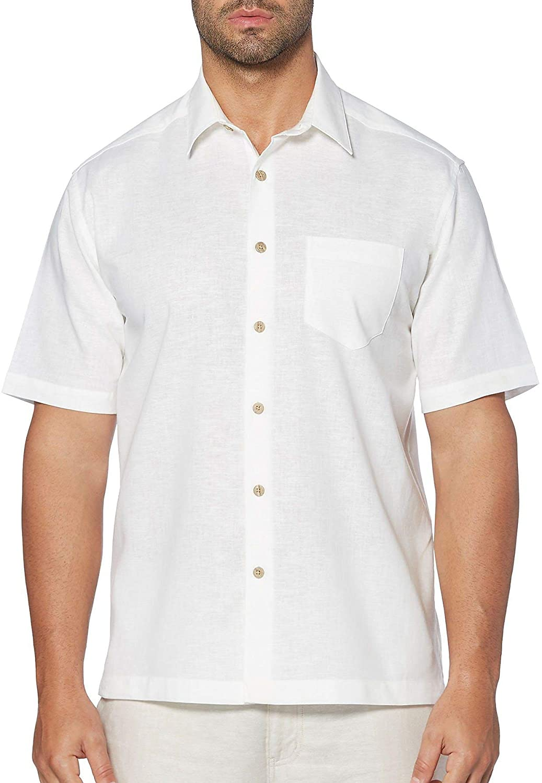 Cubavera Mens Linen Short Sleeves Casual Shirt